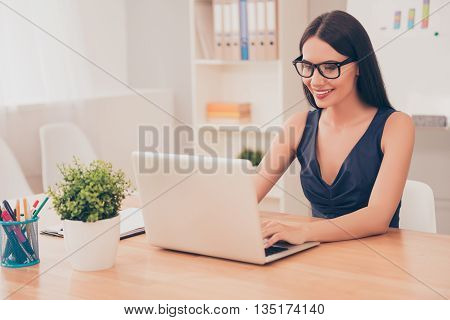 Smart Happy Successful  Pretty Businesswoman Working With Laptop