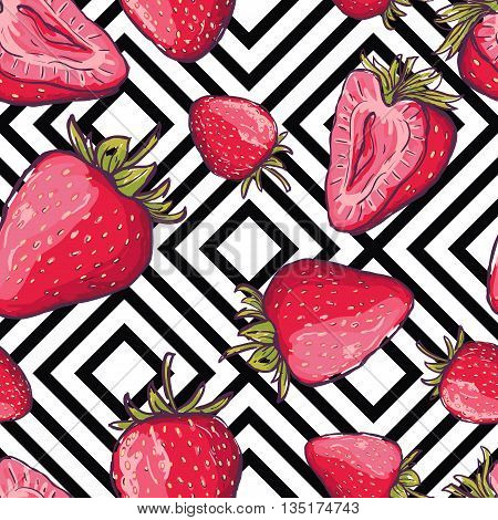Vector Summer Seamless Pattern. Red Strawberries On Black And White Geometric Background. Hand Drawn