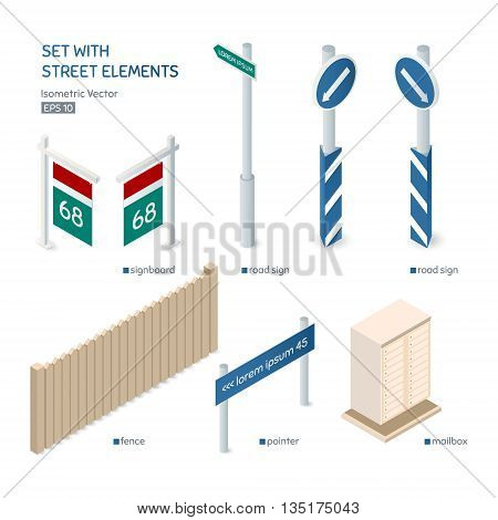 Set with street elements. City exterior. Isometric vector illustration