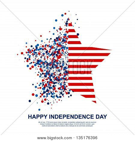Happy Independence Day festive greeting card with scatter circles and stripes in star shape. Design concept poster in traditional American colors - red white blue. Isolated.