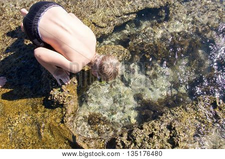 KALBARRI,WA,AUSTRALIA-APRIL 21,2016: Tourist getting a closeup look at the underwater fringe reef in the rock pools at Blue Holes beach in Kalbarri, Western Australia.