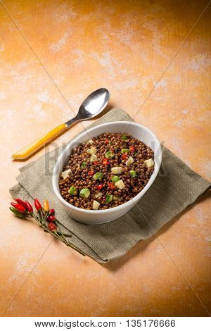 lentil salad with pineapple and avocado