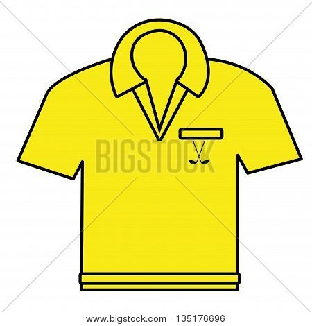 yellow polo shirt front view over isolated background, vector illustration