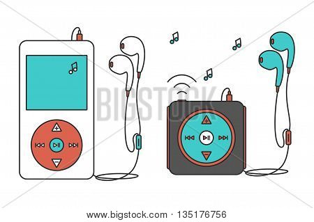 Music players with headphones. Music device line icon. Vector illustration on white background. Mp3 player over White.