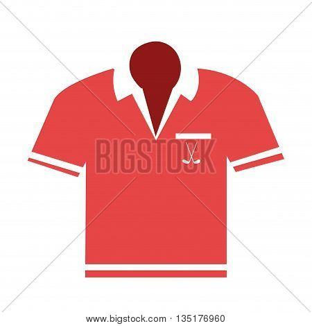 red and white polo shirt front view over isolated background, vector illustration