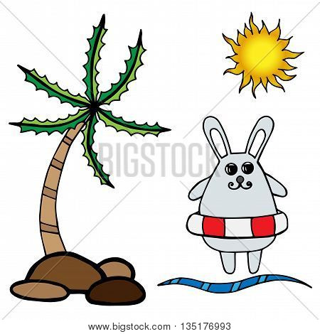 Little rabbit on rescue circle palm and sun. Isolated sea or ocean set vector illustration. Rabbit series.