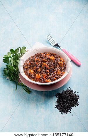 black rice with fish ragout