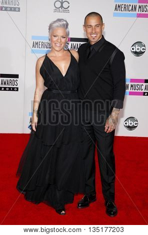 Pink and Carey Hart at the 2010 American Music Awards held at the Nokia Theatre L.A. Live in Los Angeles, USA on November 21, 2010.