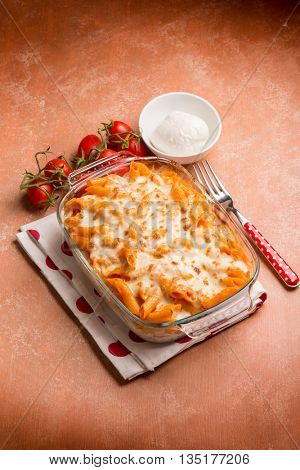 oven pasta pizzaiola with tomato and mozzarella