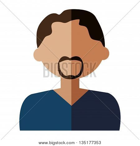 cartoon avatar man with coloful hair wearing moustache front view over isolated background, vector illustration