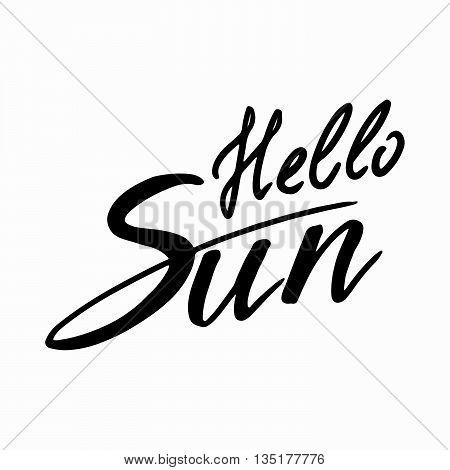 Hello Sun: handwritten vector text on a white background.