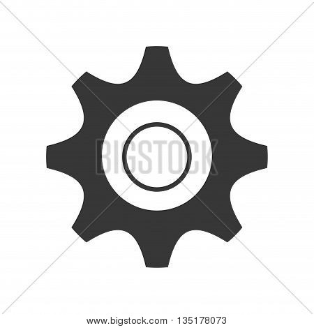 black and white settings icon front view over isolated background, vector illustration
