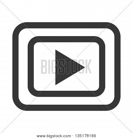 black and white media icon front view over isolated background, vector illustration