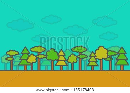 Flat style, thin line forest. Thin line forest landscape. Landscape. Forest. Pine, spruce.