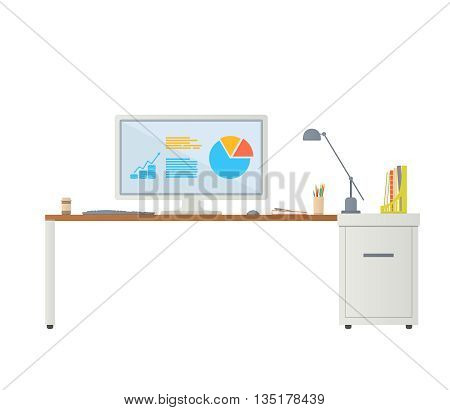Workplace in office. Vector flat illustration. Modern workplace. Computer desk. Computer on desk. Office desk. Vector illustration isolated on white background.