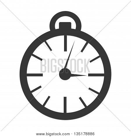 black orbed clock with black lines over isolated background, vector illustration