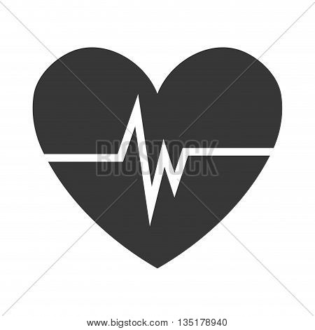 black heart with white beats over isolated background, vector illustration