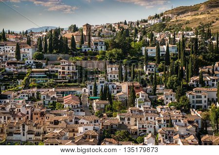 A magnificent panorama view from Alhambra in Granada Spain