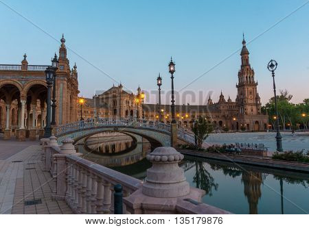 A view of Spain Square (Plaza de Espana) Seville Spain
