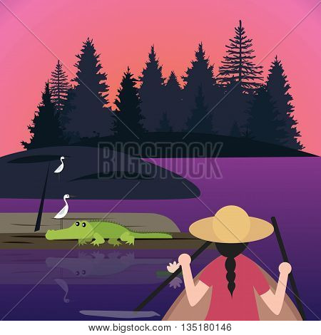 woman riding canoe or kayak small boat meet crocodile alligator in wet land lake vector