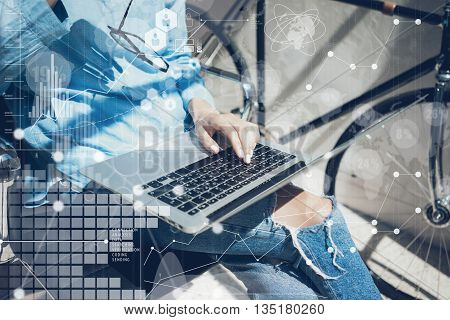 Woman Using modern Laptop Hand.Project Manager Researching Process.Business Team Working Startup Design Loft Studio.Global World Wide Icon Interfaces.Innovations Chart.Analyze market stock.Blurred