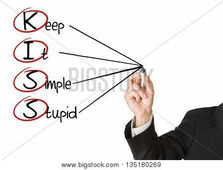 Businessman writing KISS business acronym on whiteboard isolated on white background