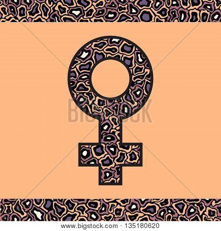 Orange and purple Venus symbol. Mirror of Venus