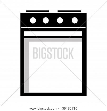 black and white electric heater fron view over isolated background, vector illustration