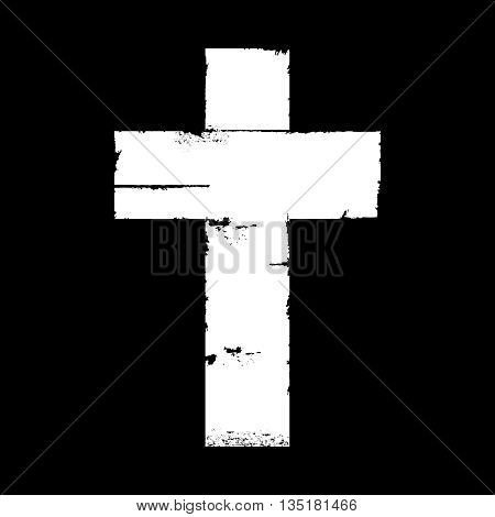 freehand drawn, White and plain aged and worn edged cross