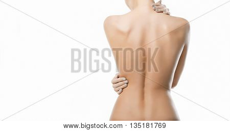 Beautiful Woman's Body On White Background. Isolated Nude Woman Back