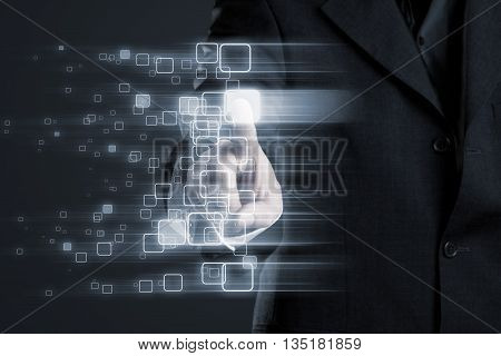 Businessman touching glowing box inside abstract network on transparent surface display