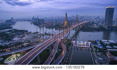 aerial view of bhumiphol bridge crossing chaopraya river important landmark and traffic and land transportation in bangkok thailand