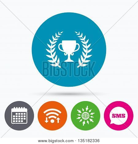 Wifi, Sms and calendar icons. First place cup award sign icon. Prize for winner symbol. Laurel Wreath. Go to web globe.