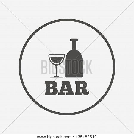 Bar or Pub sign icon. Wine bottle and Glass. Flat bar icon. Simple design bar symbol. Bar graphic element. Round button with flat bar icon. Vector