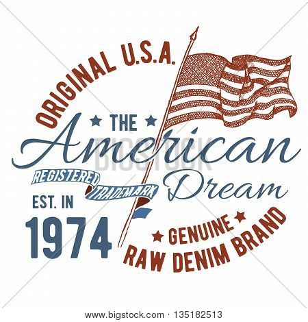 T-shirt typography design USA printing graphics typographic american vector illustration united states graphic design for label or t-shirt print Badge Applique.