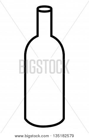 white wine bottle front view over isolated background, vector illustration