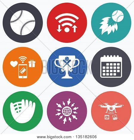 Wifi, mobile payments and drones icons. Baseball sport icons. Ball with glove and two crosswise bats signs. Fireball with award cup symbol. Calendar symbol.