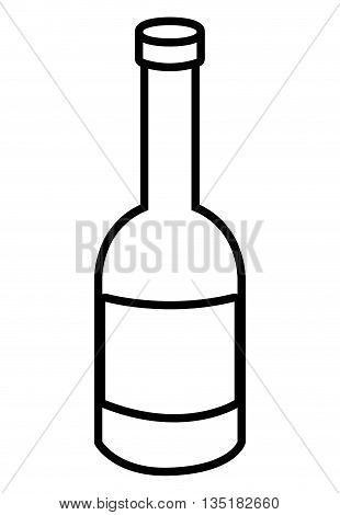 white liquor bottle with white square front view over isolated background, vector illustration
