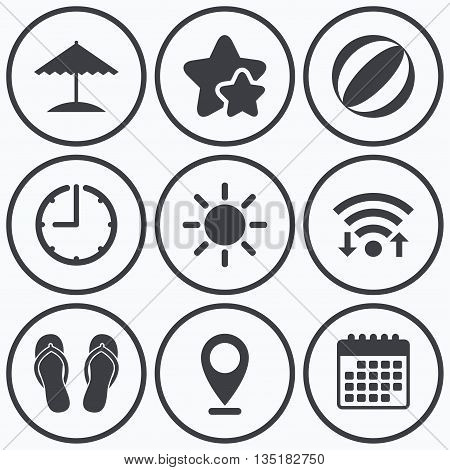 Clock, wifi and stars icons. Beach holidays icons. Ball, umbrella and flip-flops sandals signs. Summer sun symbol. Calendar symbol.