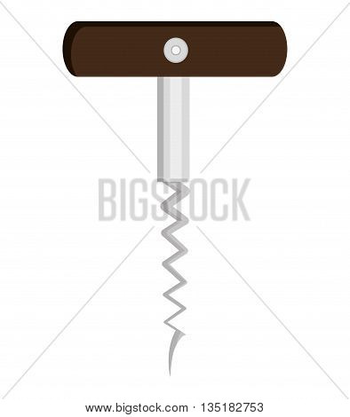 wine bottle opener front view over isolated background, vector illustration