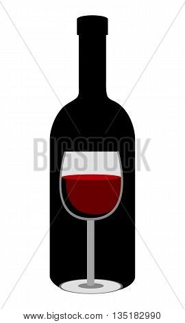 black bottle of wine and glass of wine front view over isolated background, vector illustration