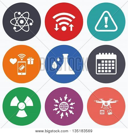 Wifi, mobile payments and drones icons. Attention and radiation icons. Chemistry flask sign. Atom symbol. Calendar symbol.