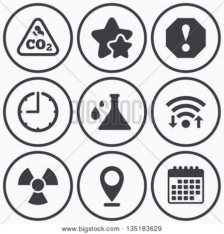 Clock, wifi and stars icons. Attention and radiation icons. Chemistry flask sign. CO2 carbon dioxide symbol. Calendar symbol.