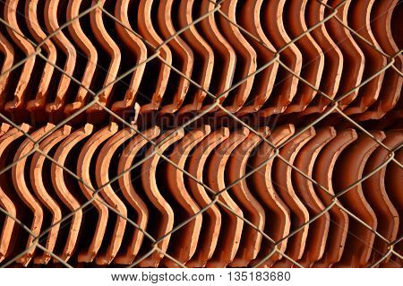 Ceramic Roof Tiles Stock in a Industry