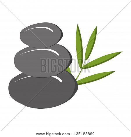 grey rocks with green tree leaves front view over isolated background, vecotr illustration