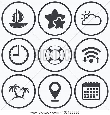 Clock, wifi and stars icons. Travel icons. Sail boat with lifebuoy symbols. Cloud with sun weather sign. Palm tree. Calendar symbol.