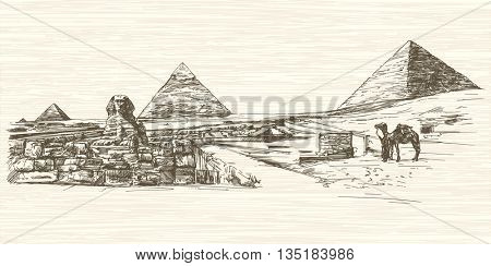 The Sphinx and Pyramid of Khafre, Cairo, Egypt. Hand drawn illustration.