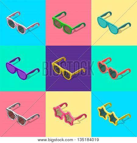 sun glasses set of isometric vector illustration