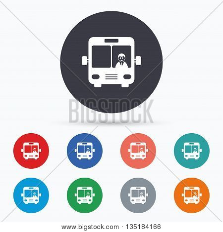 Bus sign icon. Public transport symbol. Flat bus icon. Simple design bus symbol. Bus graphic element. Circle buttons with bus icon. Vector