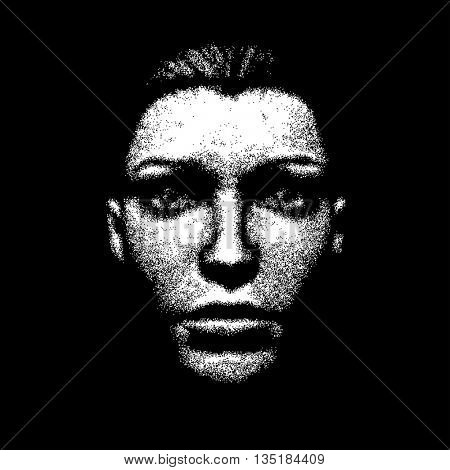 woman face halftone cover poster party disco easy all editable
